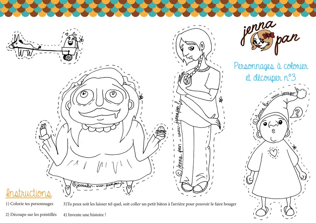coloriage colour in cut out characters jenna pan n  personnages magiques poupée whimsical doll découper colorier 3