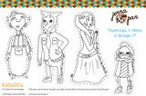 coloriage colour in cut out characters jenna pan n 1 personnages magiques poupée whimsical doll découper colorier
